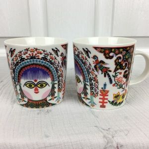 Two folk art mugs with gorgeous floral design